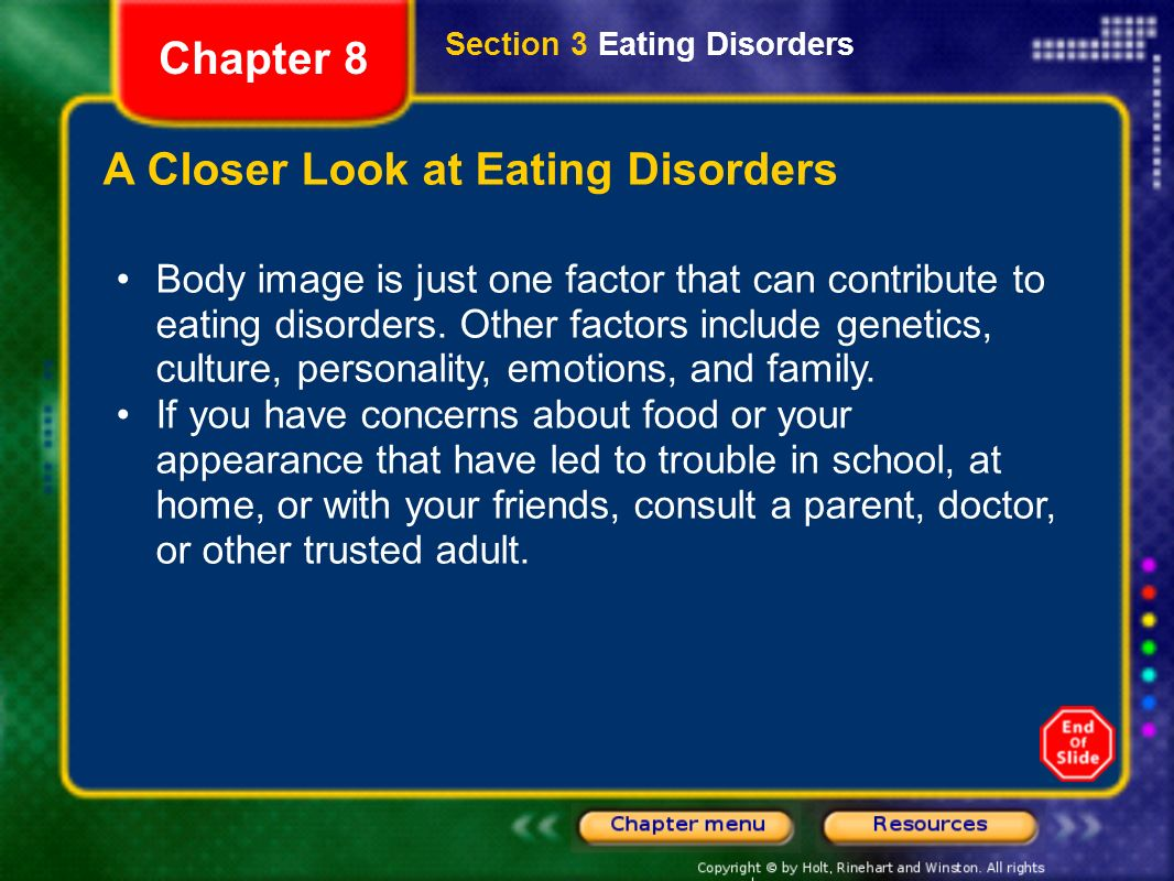 the different factors contributing to an eating disorder This misguided focus on unattainable beauty and self-control is a major contributing factor of eating disorders in both women and men but there is a different and more generous and holistic view of physical and emotional challenges and eat disorders eating disorders eating psychology.