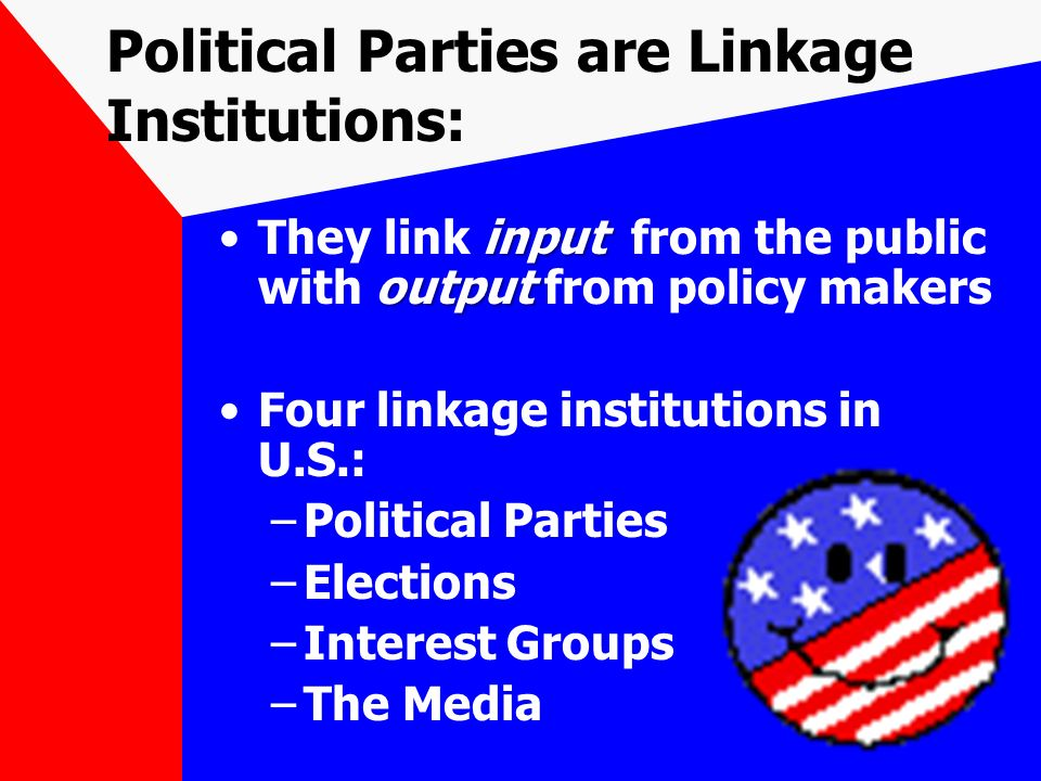 political parties as institutions Groups may found political parties as long as they  the parties represented in the national council run their own institutions (academies) to promote political.