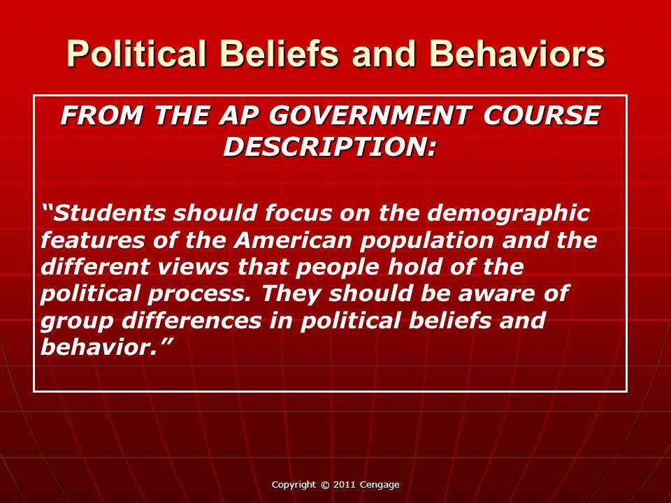 a description of the process called political socialization Political ideology is shaped by a person's life, values, and beliefs in what is called political socialization political socialization is the process by which an individual acquires values, beliefs, and opinions about politics (dautrich p272.