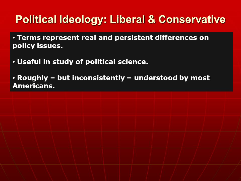 """how useful the conservative liberal policy typology But none of this is particularly useful information  what is the difference between a liberal and  about public policy what does the word """"conservative."""
