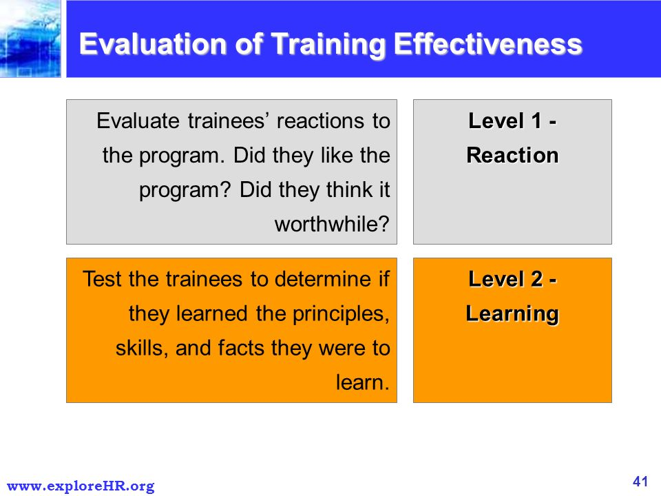 end programme reaction towards training effectiveness Effectiveness of classroom based crew resource management training reaction to the training programme to assess the cost-effectiveness of crm training.