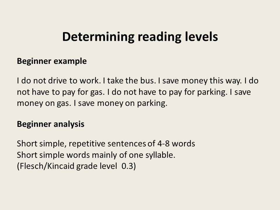 Determining reading levels