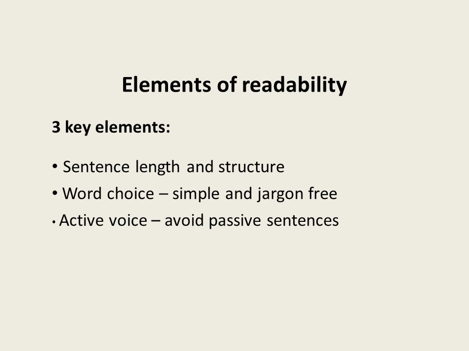 Elements of readability