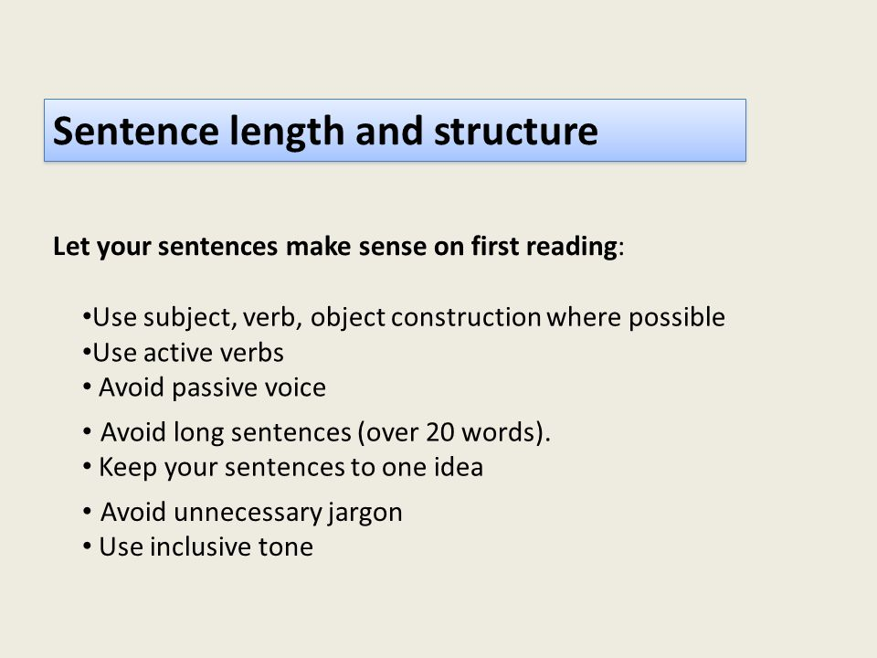 Sentence length and structure