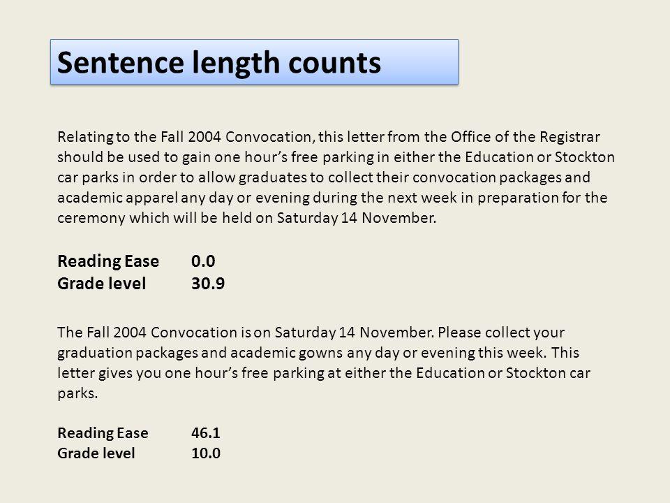 Sentence length counts