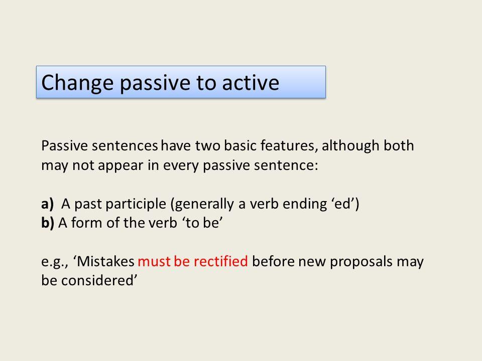 Change passive to active