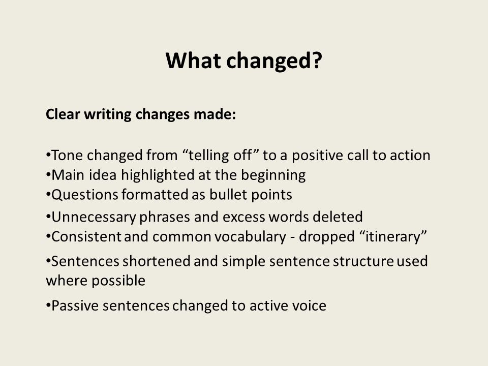 What changed Clear writing changes made: