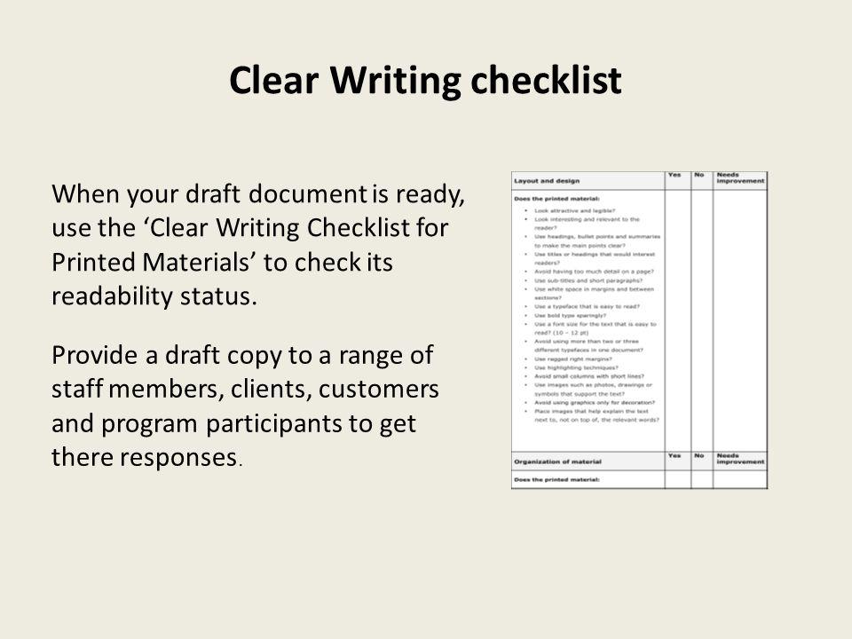 Clear Writing checklist