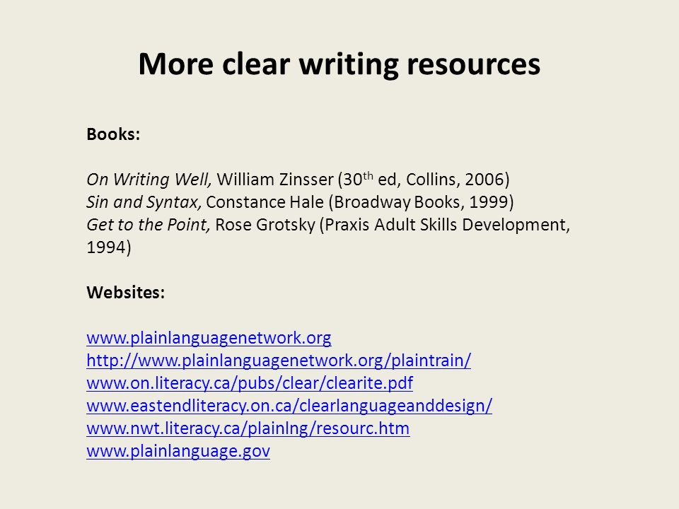 More clear writing resources