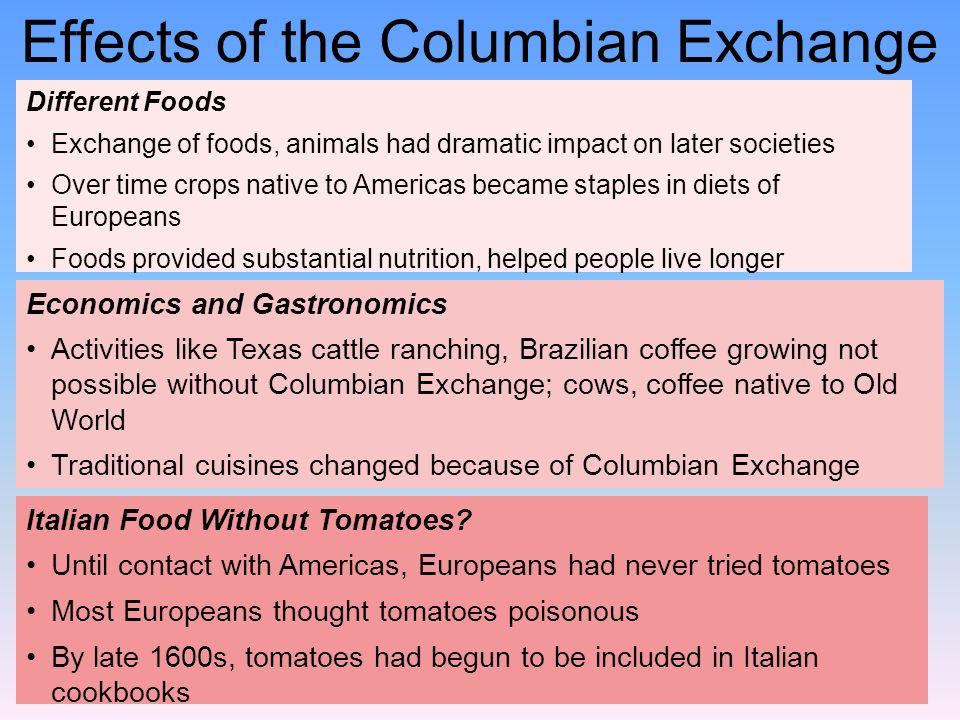 effects of columbian exchange What we now consider to be the traditional cuisines of europe are heavily flavored with the products of the columbian exchange before 1492, the italians—hard as it is to believe—ate no tomatoes the irish ate no potatoes, the spanish no peppers, the swiss no chocolate for tomatoes, potatoes .