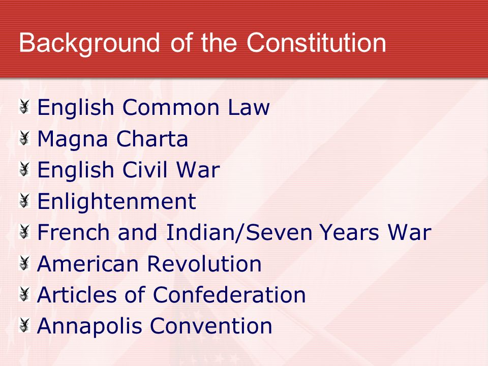 Background of the Constitution