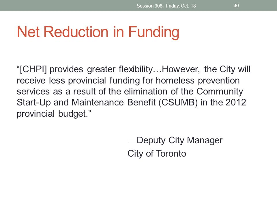 Net Reduction in Funding