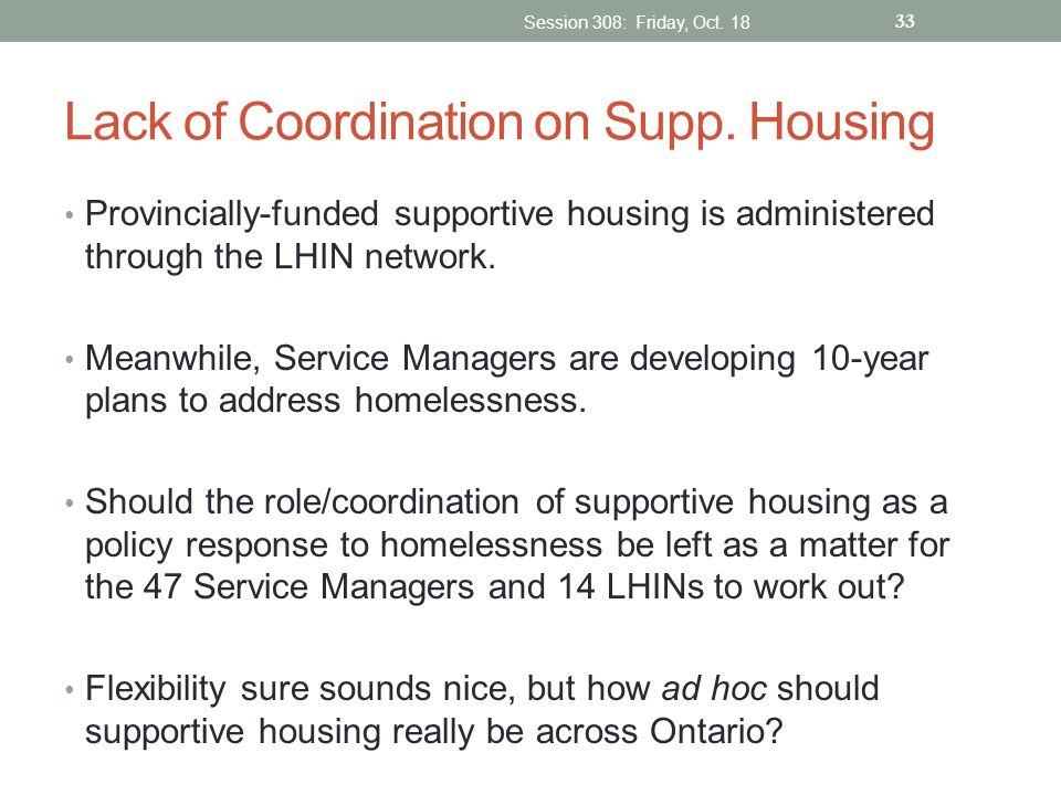 Lack of Coordination on Supp. Housing