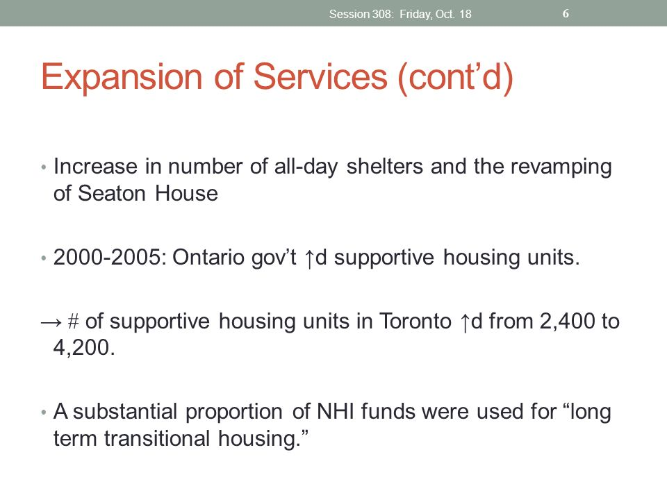 Expansion of Services (cont'd)