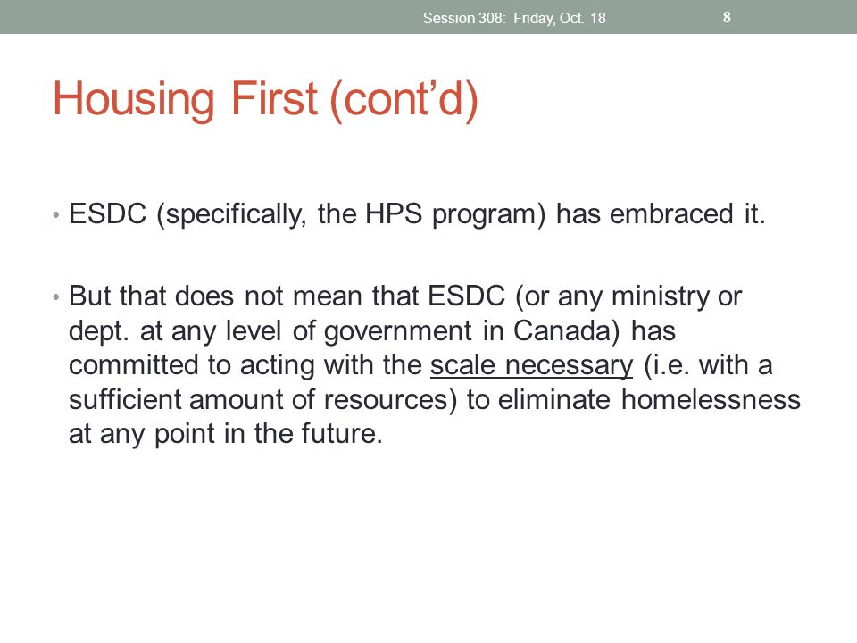 Housing First (cont'd)