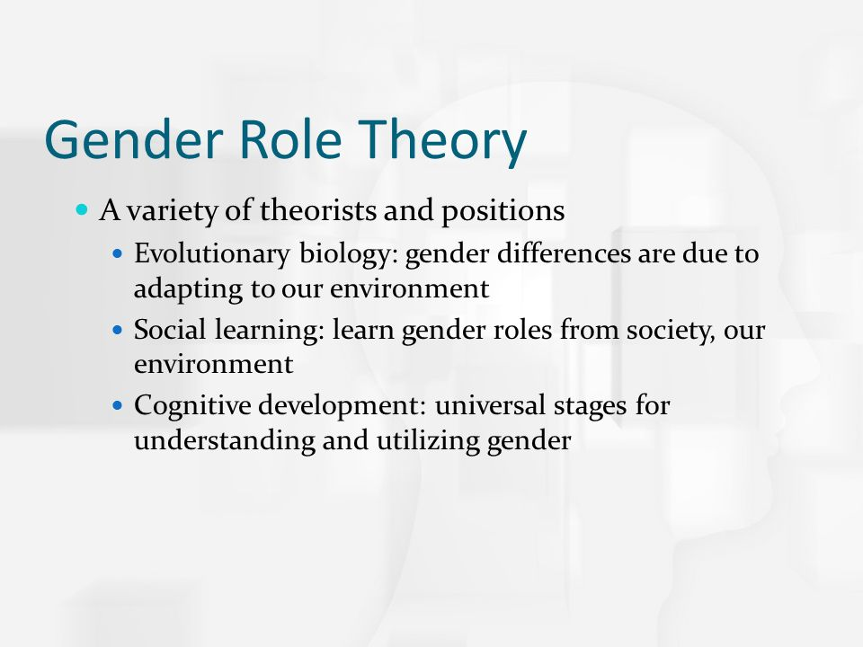 "gender role identification theories essay Essay, she managed to summarize the advent of gender history, provide  to the  social construction of sex differences, and theorists had already posed ""gen-   sex"" and ""sex-role identification"" to point to a person's acquired sense of self as."