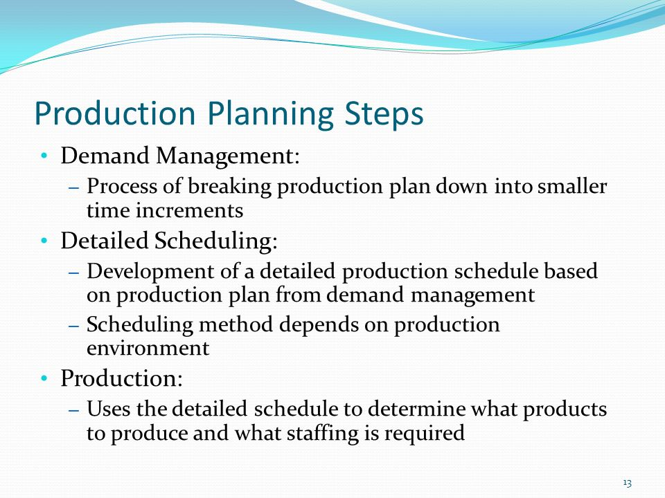 Production Overview A Production Plan Answers Two