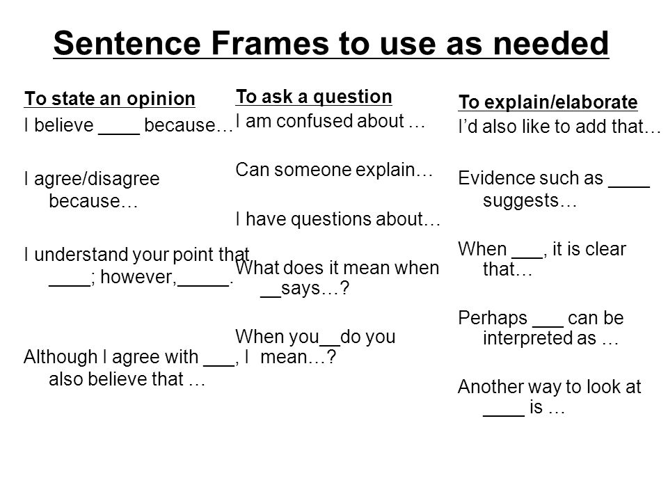 Sentence Frames to use as needed