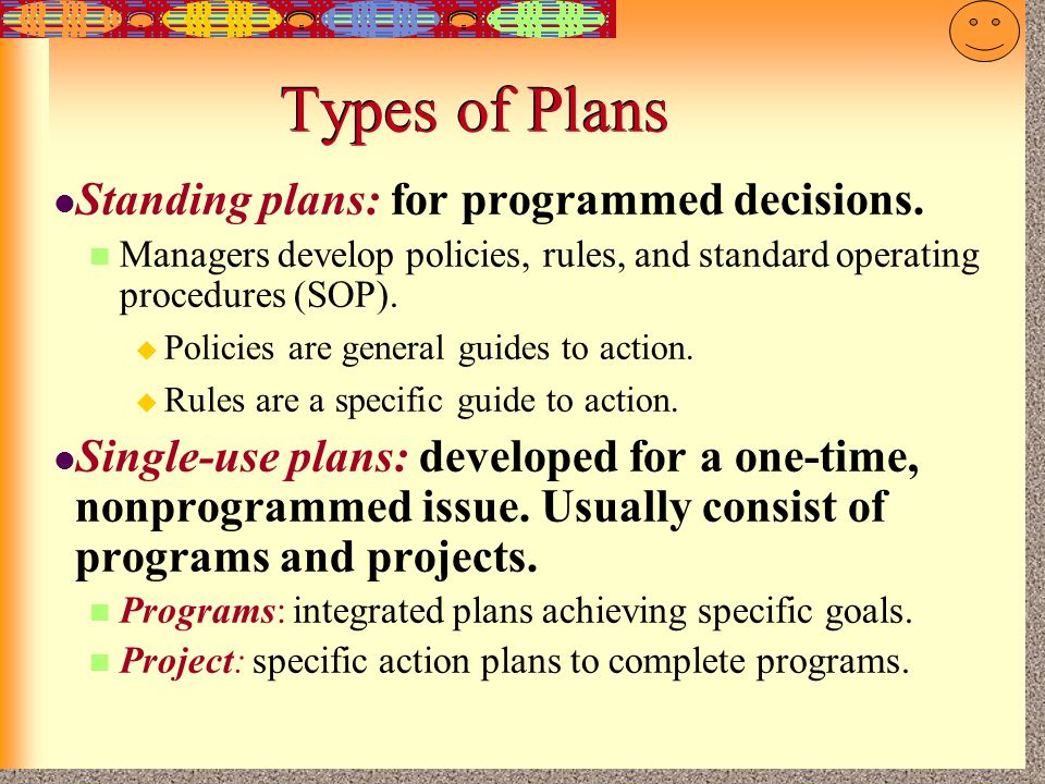 Types of Plans Standing plans: for programmed decisions.