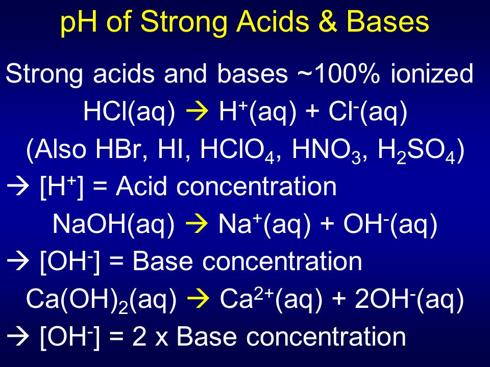 how to find ph of strong base