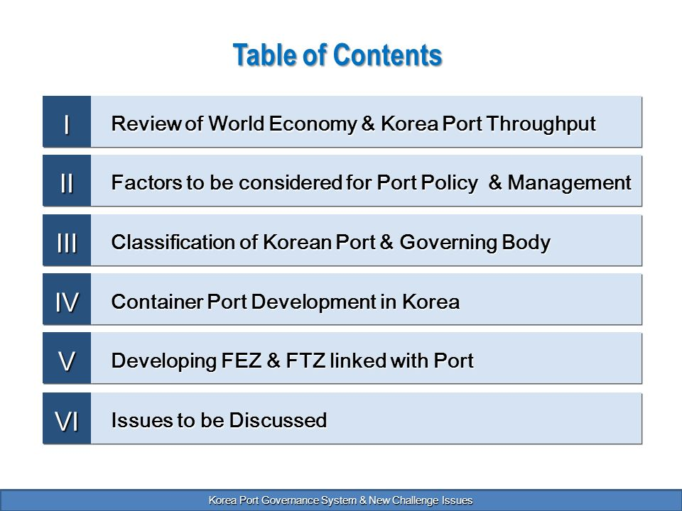 Korea port governance system and new challenge issues for Table 85 korean