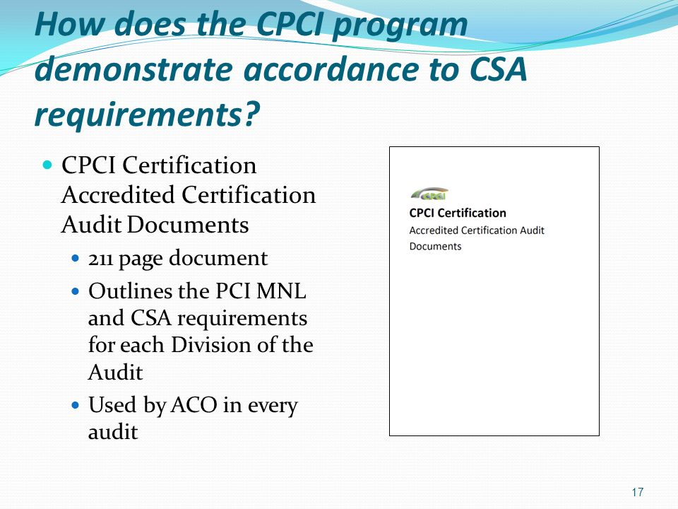 How does the CPCI program demonstrate accordance to CSA requirements