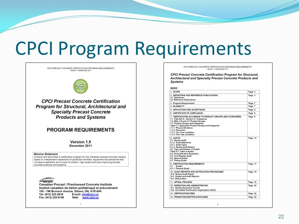CPCI Program Requirements