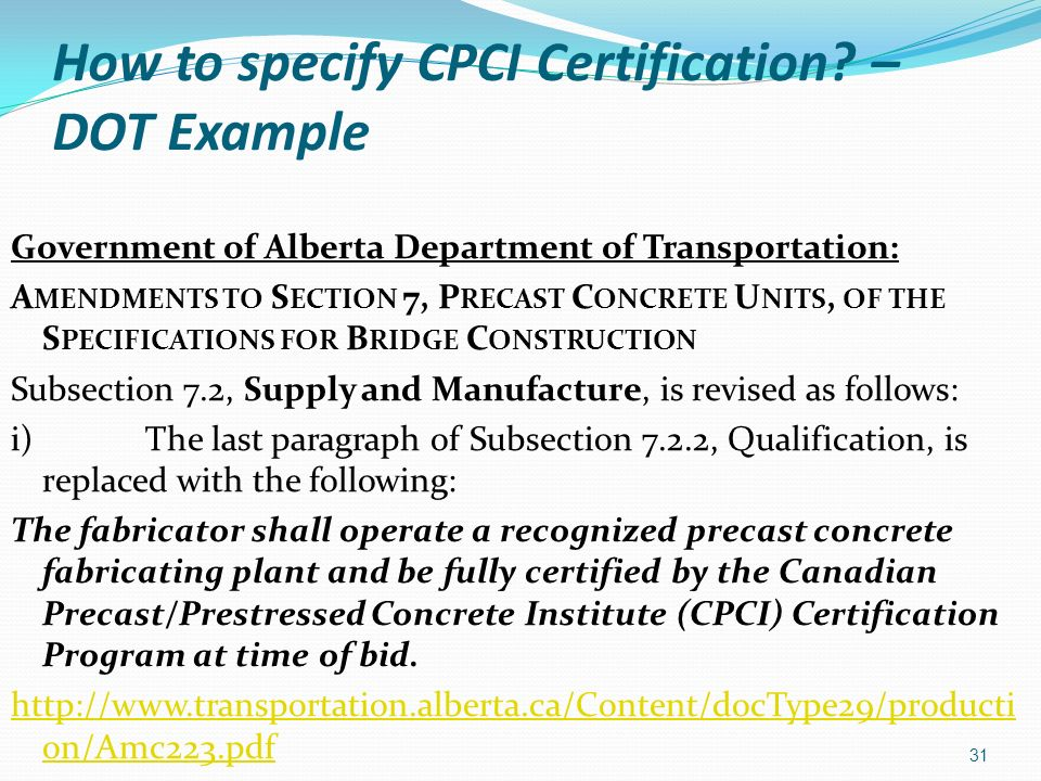 How to specify CPCI Certification – DOT Example