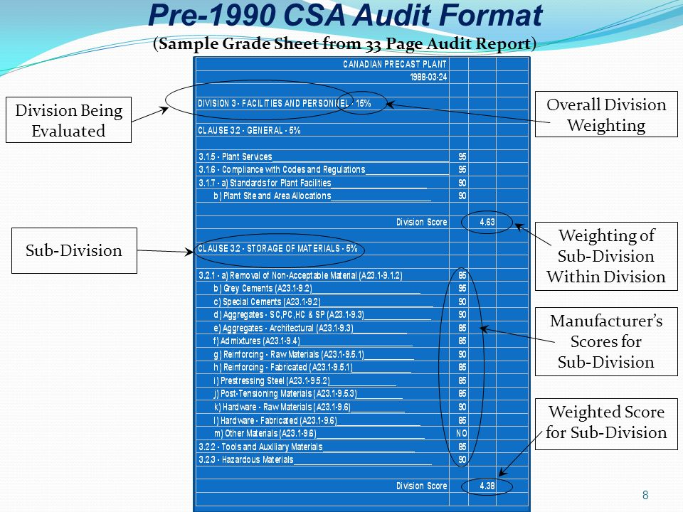 (Sample Grade Sheet from 33 Page Audit Report)