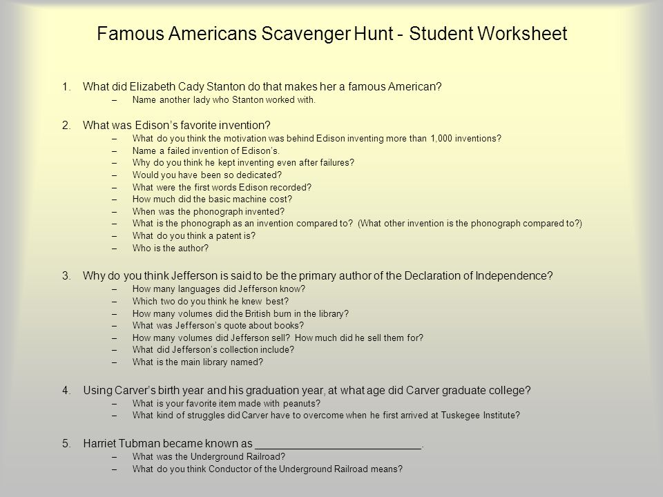 Famous Americans Scavenger Hunt ppt download – Library Scavenger Hunt Worksheet