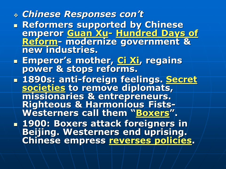 Chinese Responses con't
