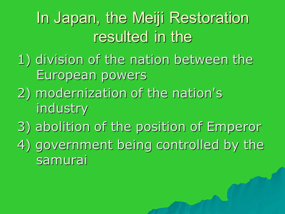 the causes of the modernization of japanese industry Deregulation is the reduction or elimination of government power in a particular industry,  the commodity futures modernization act prohibited the commodity.