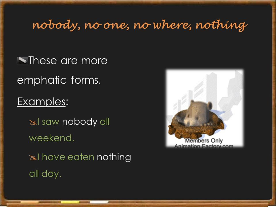 nobody, no one, no where, nothing