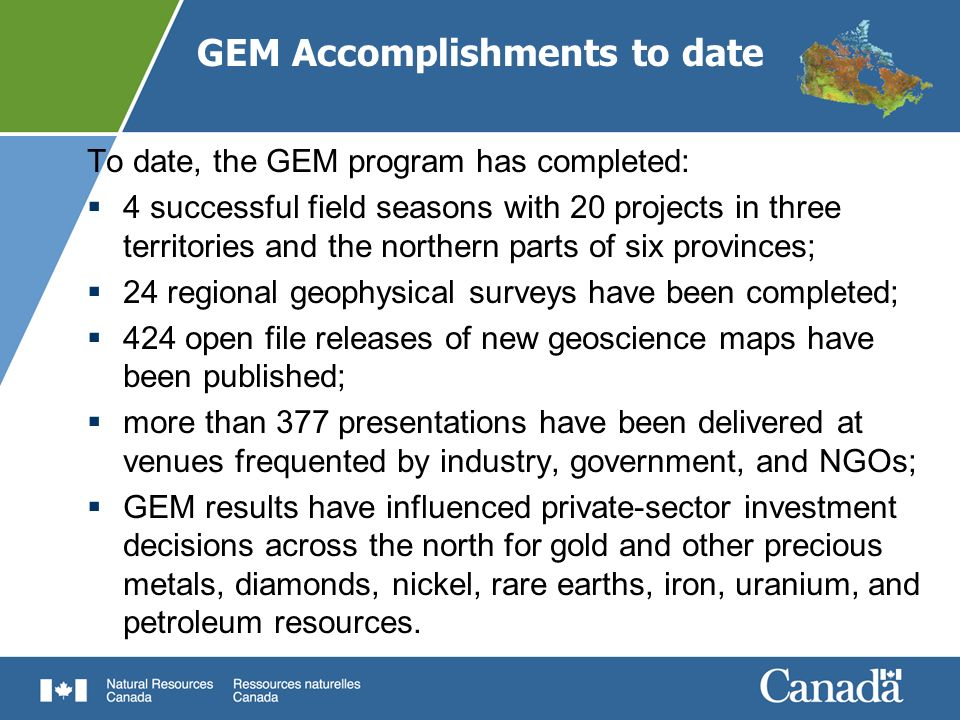 GEM Accomplishments to date
