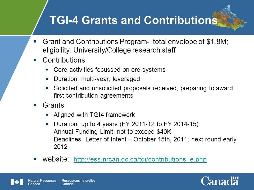 TGI-4 Grants and Contributions
