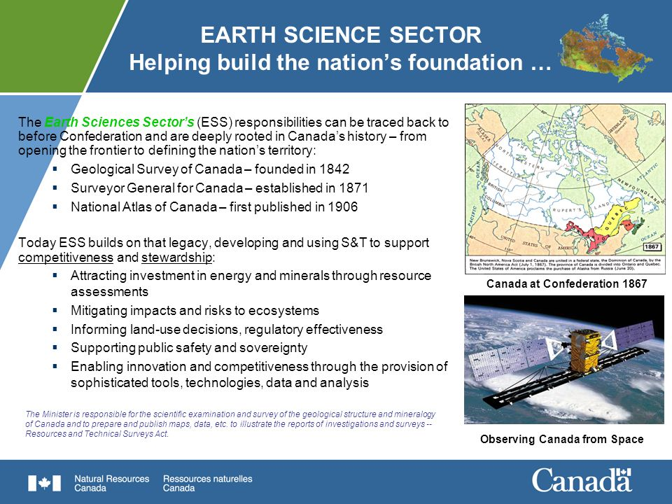 EARTH SCIENCE SECTOR Helping build the nation's foundation …