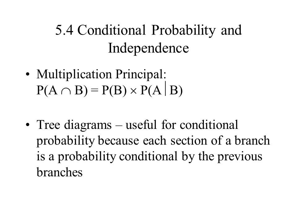 5.4 Conditional Probability and Independence