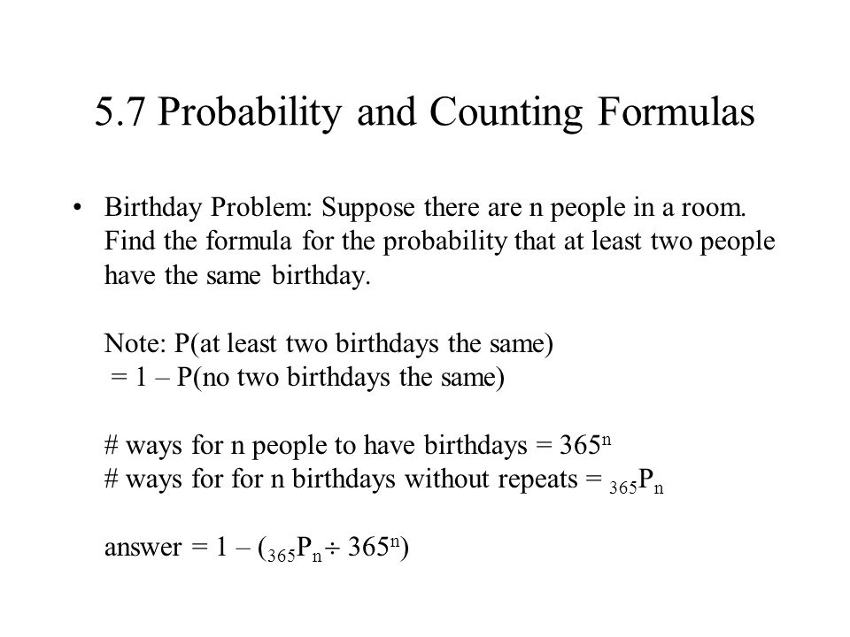 5.7 Probability and Counting Formulas