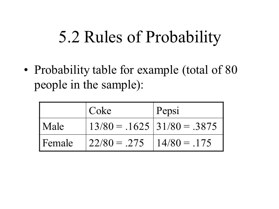 5.2 Rules of Probability Probability table for example (total of 80 people in the sample): Coke. Pepsi.