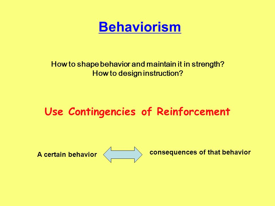 Behaviorism Use Contingencies of Reinforcement