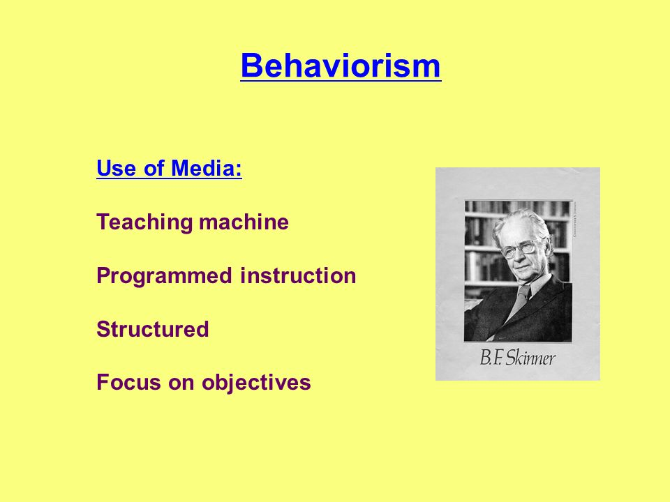 Behaviorism Use of Media: Teaching machine Programmed instruction