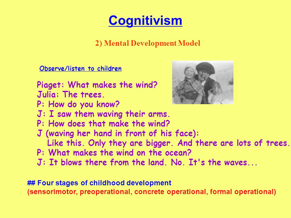 Cognitivism 2) Mental Development Model Piaget: What makes the wind