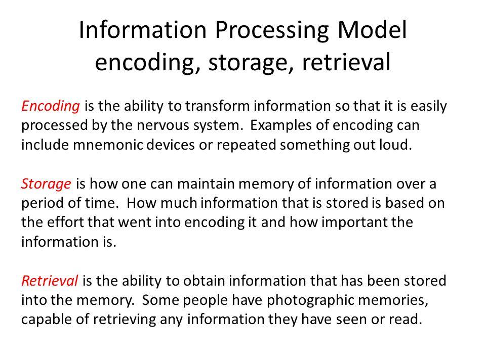 Information Processing Model Encoding Storage Retrieval