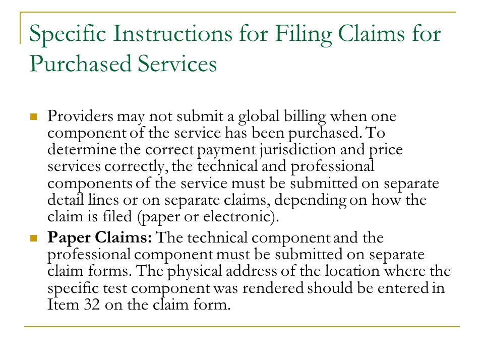 Specific Instructions for Filing Claims for Purchased Services