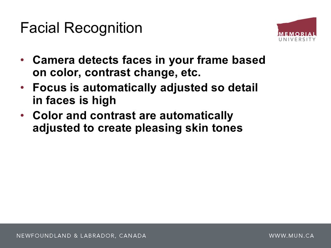 Facial RecognitionCamera detects faces in your frame based on color, contrast change, etc.