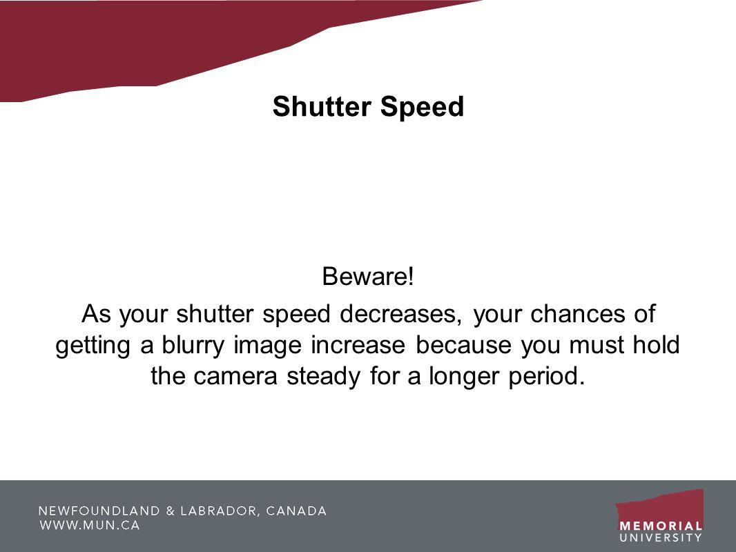 Shutter SpeedBeware!