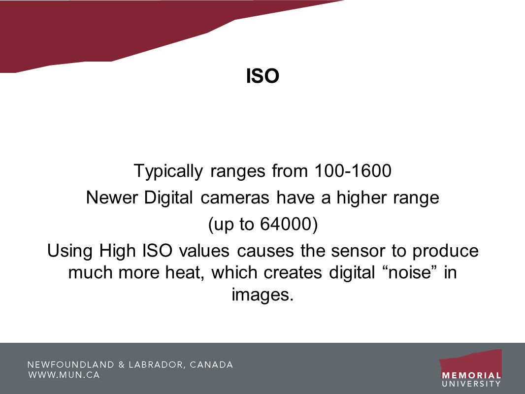 ISO Typically ranges from 100-1600