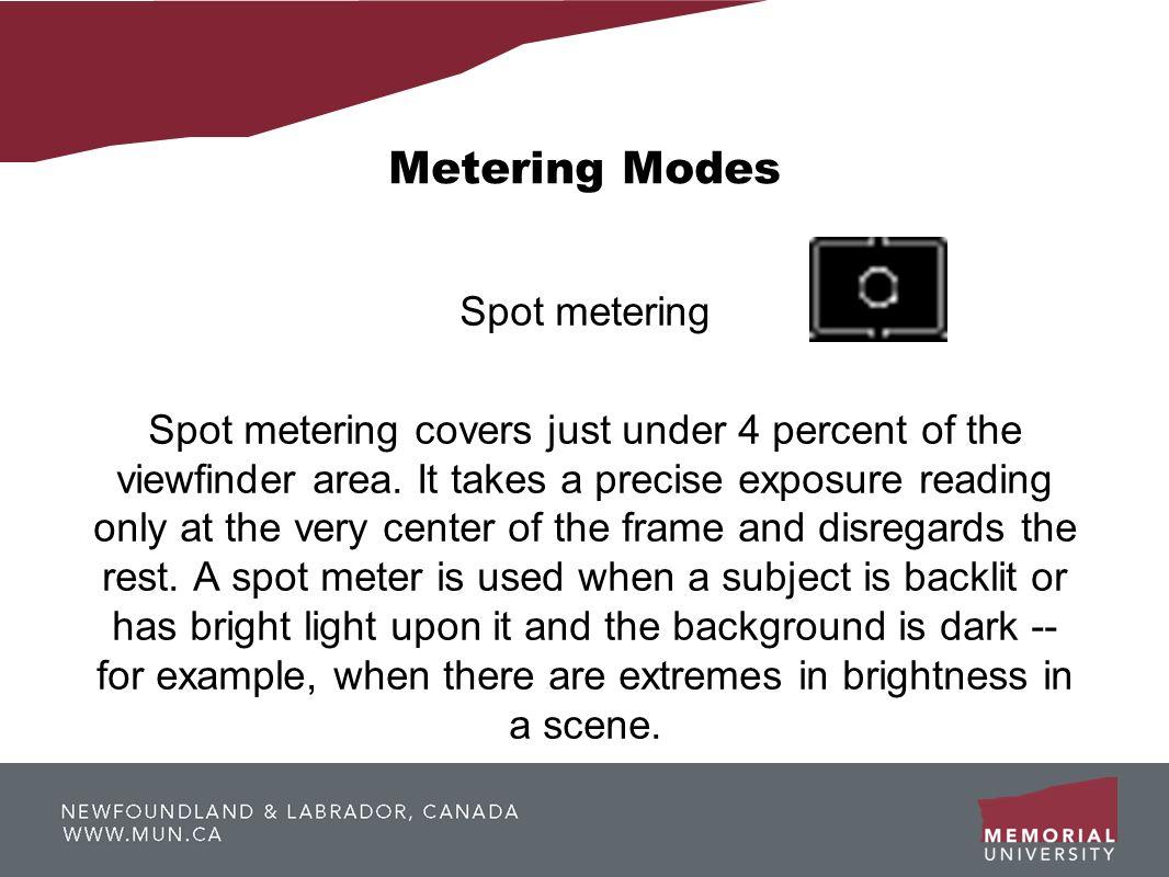 Metering Modes Spot metering