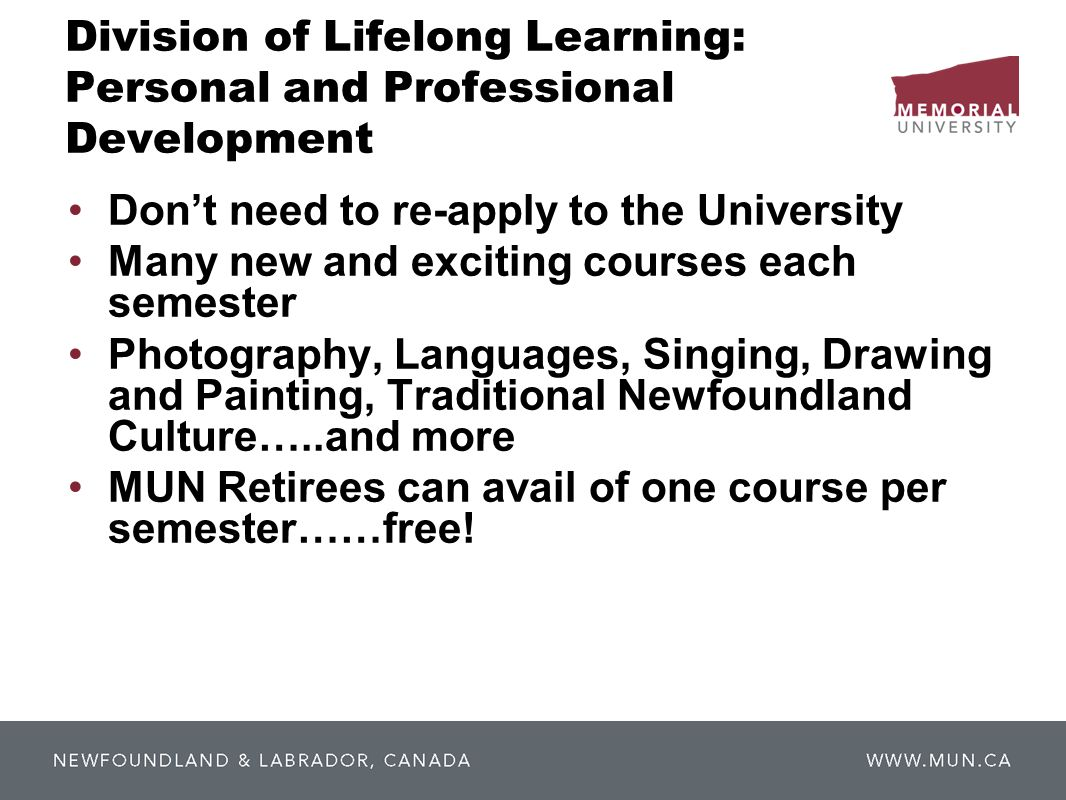 Division of Lifelong Learning: Personal and Professional Development