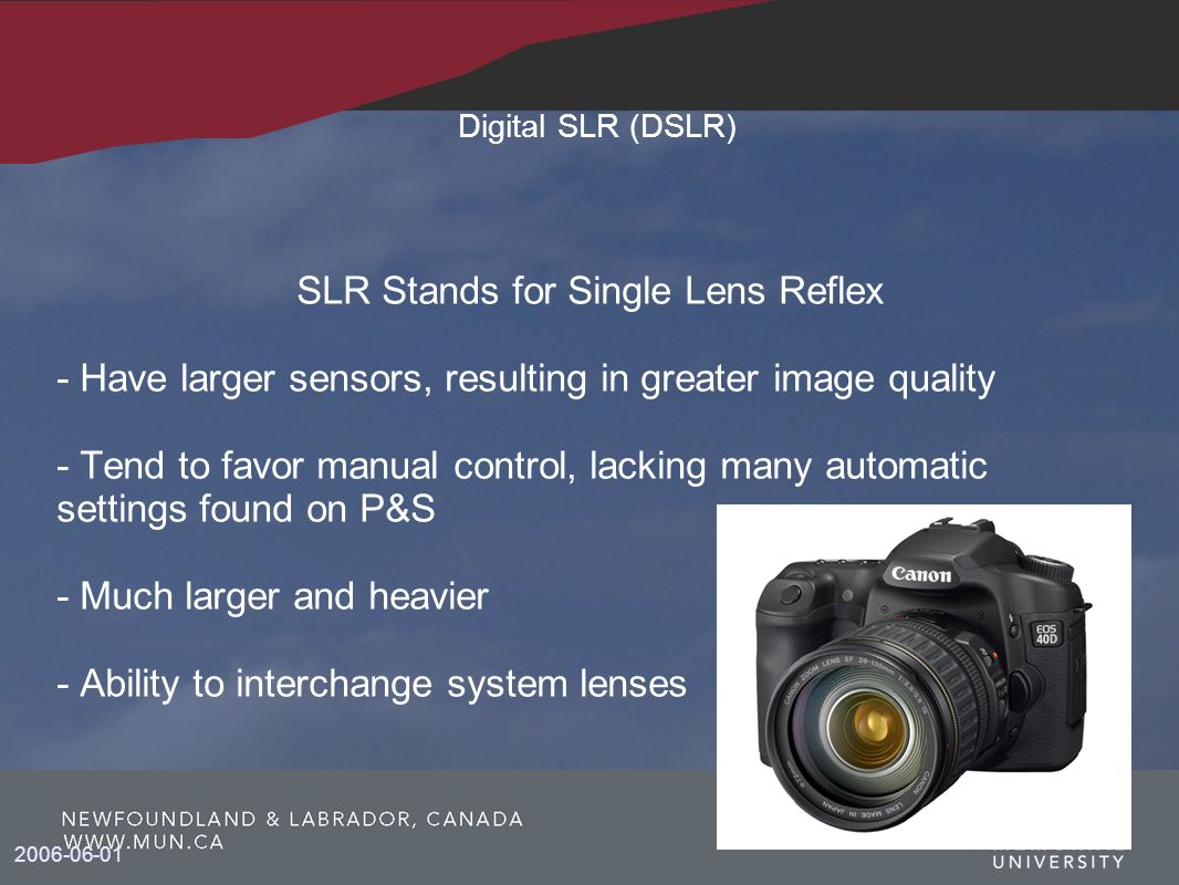 SLR Stands for Single Lens Reflex